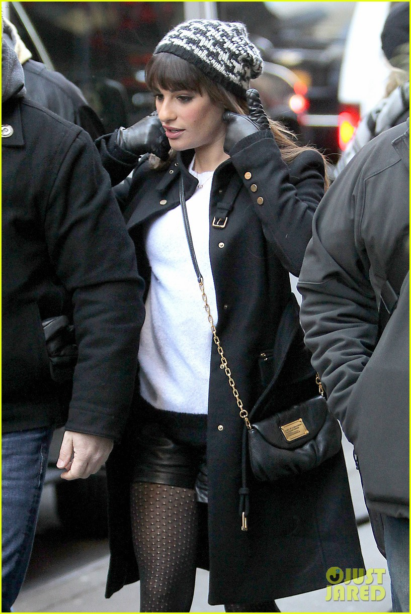 lea michele switches outfits around glee nyc 10
