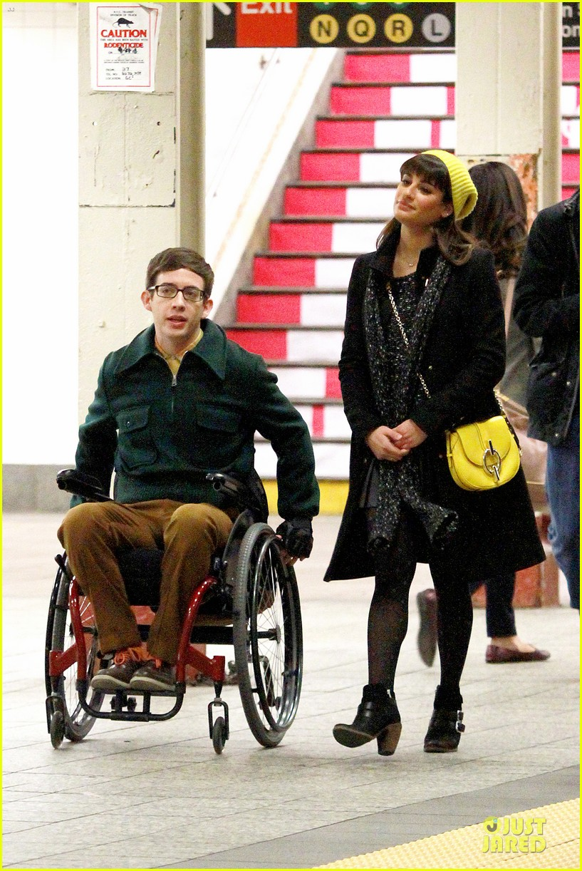 lea michele kevin mchale take glee underground in nyc 043072556