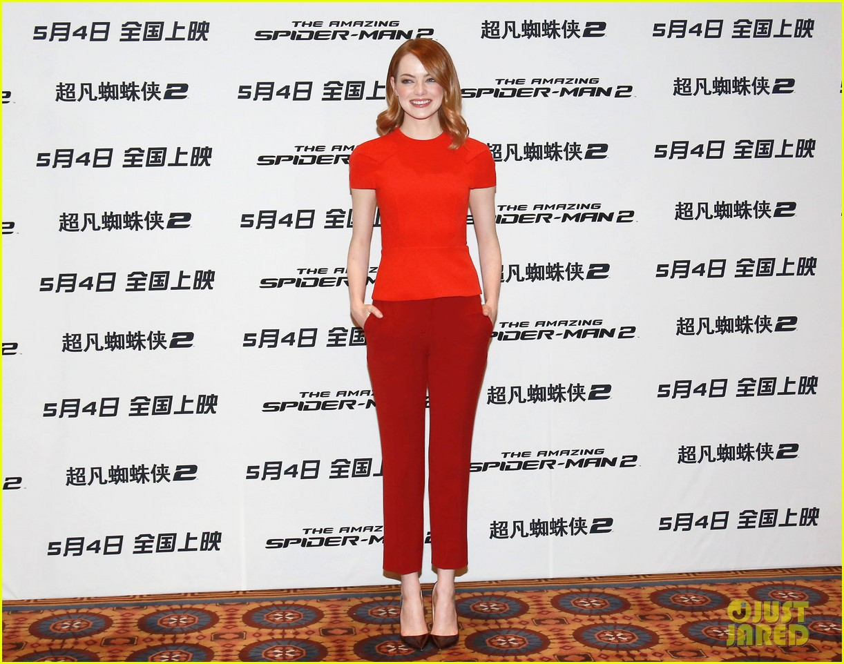 emma stone andrew garfield jamie foxx super trio amazing spider man 2 press conference 083078317