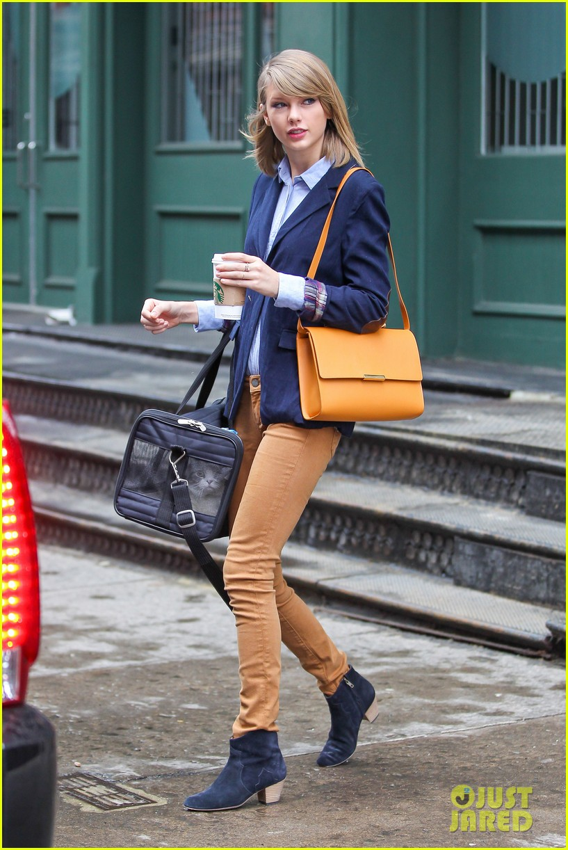 taylor swift brings her cat meredith around nyc in travel carrier 09
