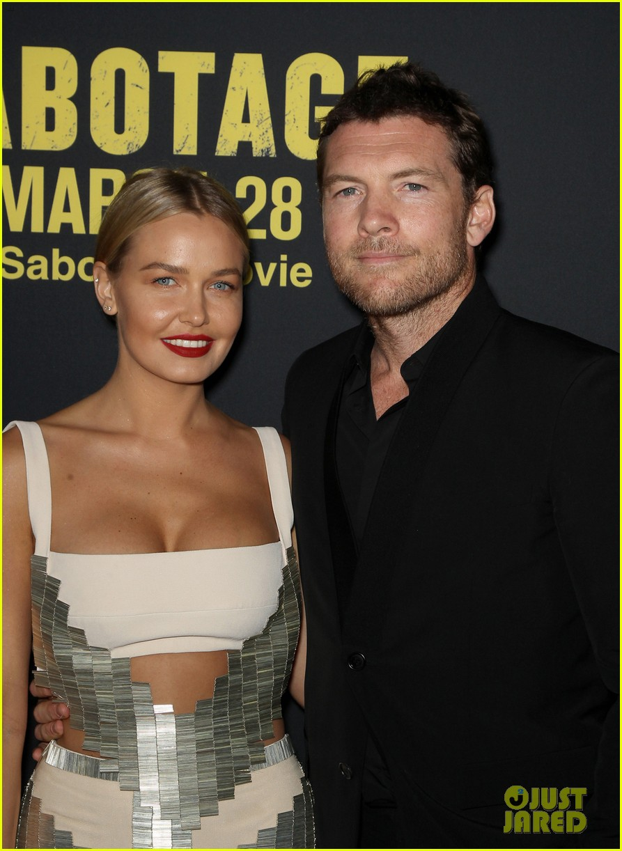 sam worthington lara bingle sabotage premiere 123075160