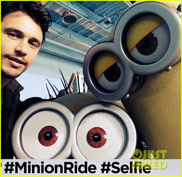 james franco is first in line for despicable me minion mayhem ride 01