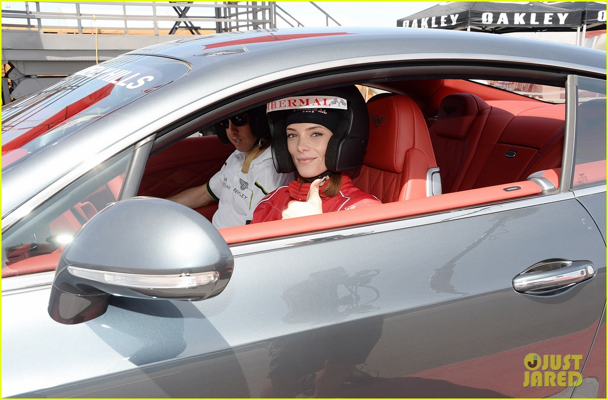 ashley greene kicks off coachella weekend race cars 10