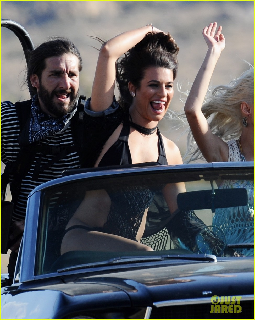 lea michele bikini on my way music video shoot 01