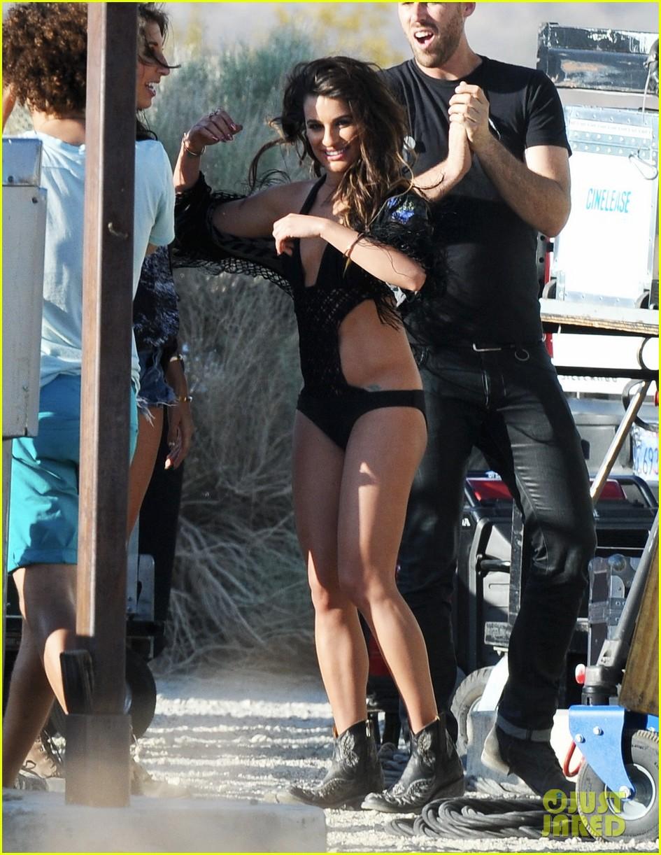 lea michele bikini on my way music video shoot 043095552