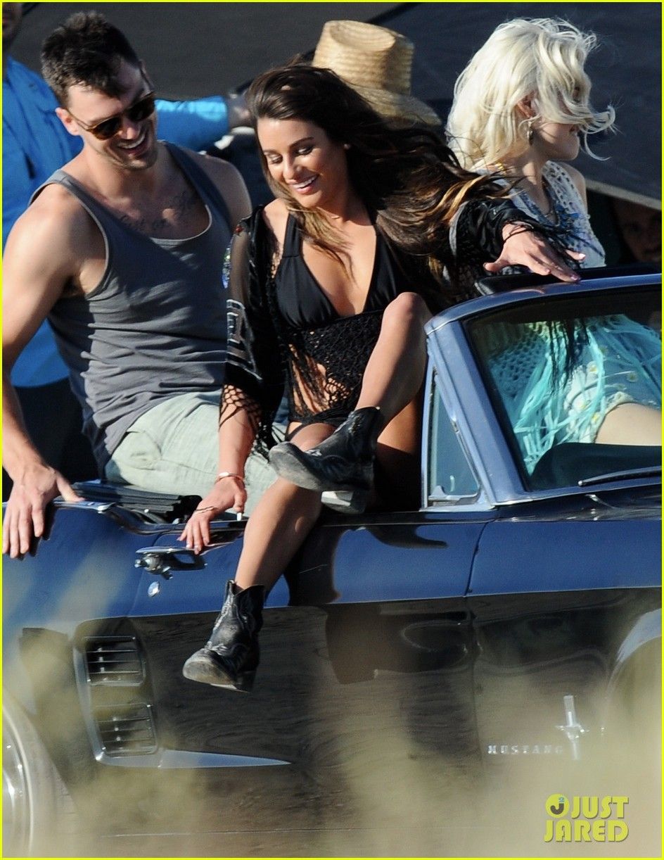lea michele bikini on my way music video shoot 063095554