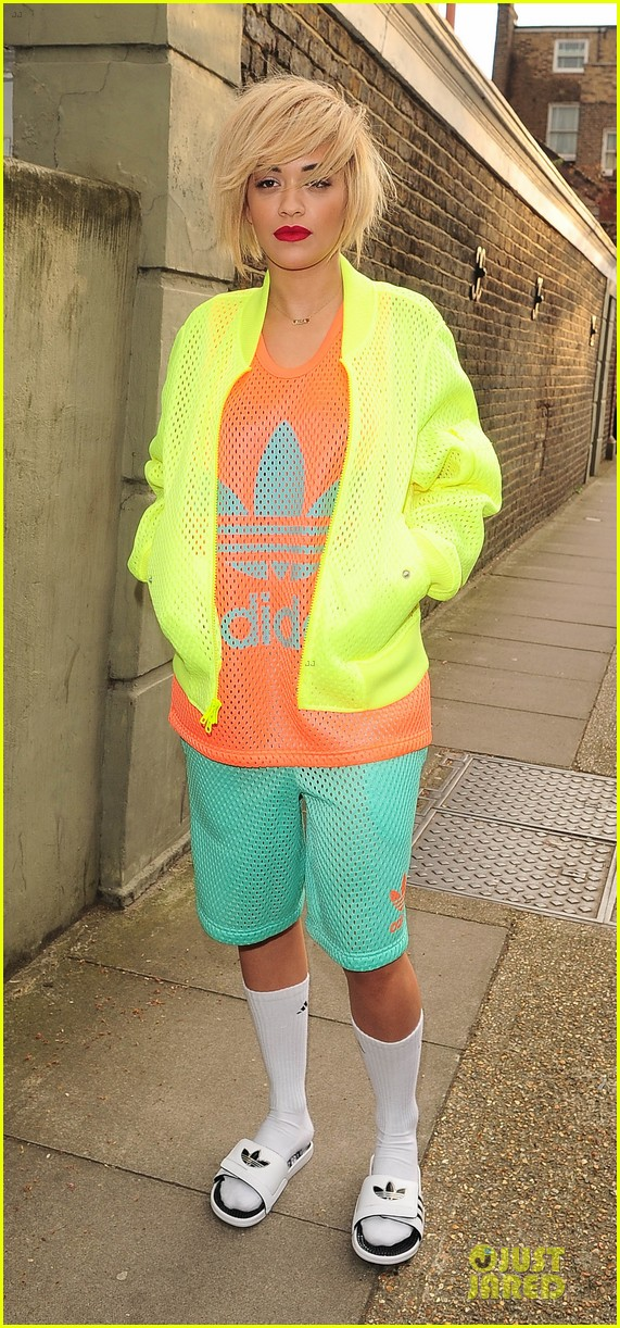 rita ora new hairdo in neon ensemble 263085105