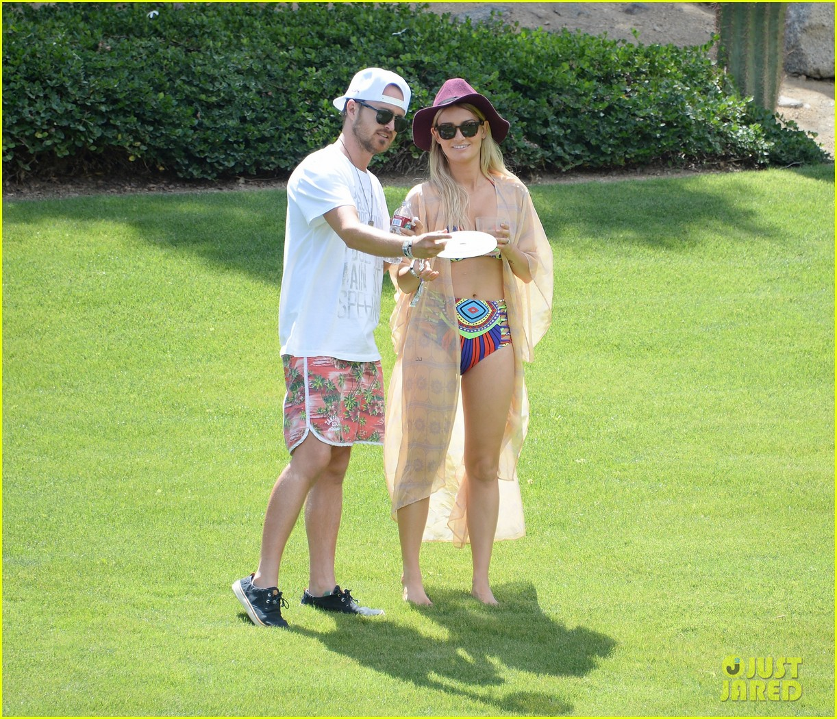 aaron paul wife wears retro bikini at coachella 01