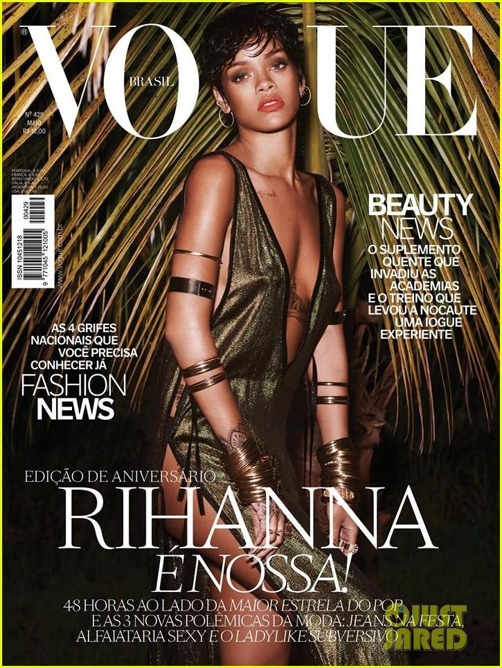 rihanna wears low cut high slit dress for vogue brasil 01