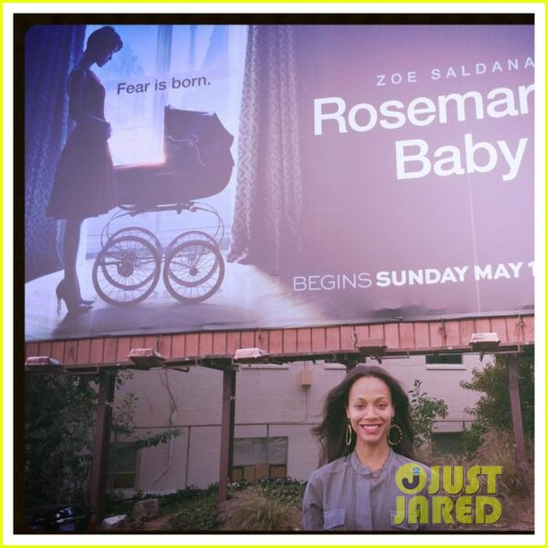 zoe saldana has been posting selfies in front of rosemarys baby billboards 06