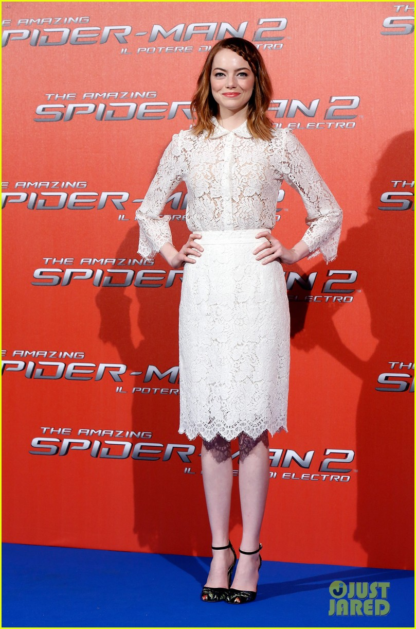emma stone braids her hair spider man 2 rome photo call 01