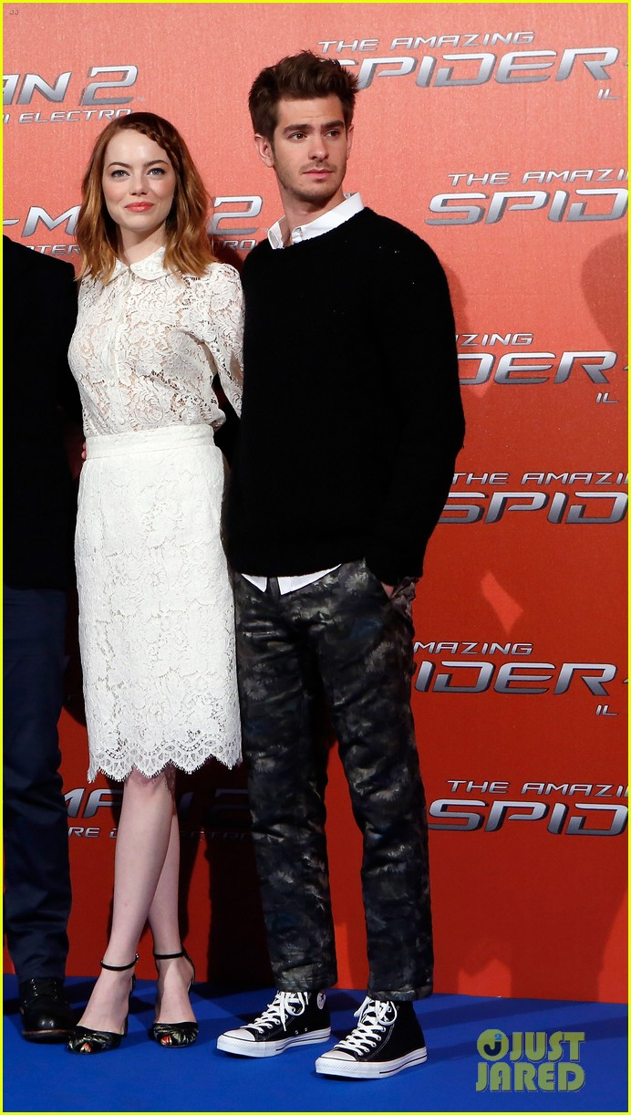 emma stone braids her hair spider man 2 rome photo call 17