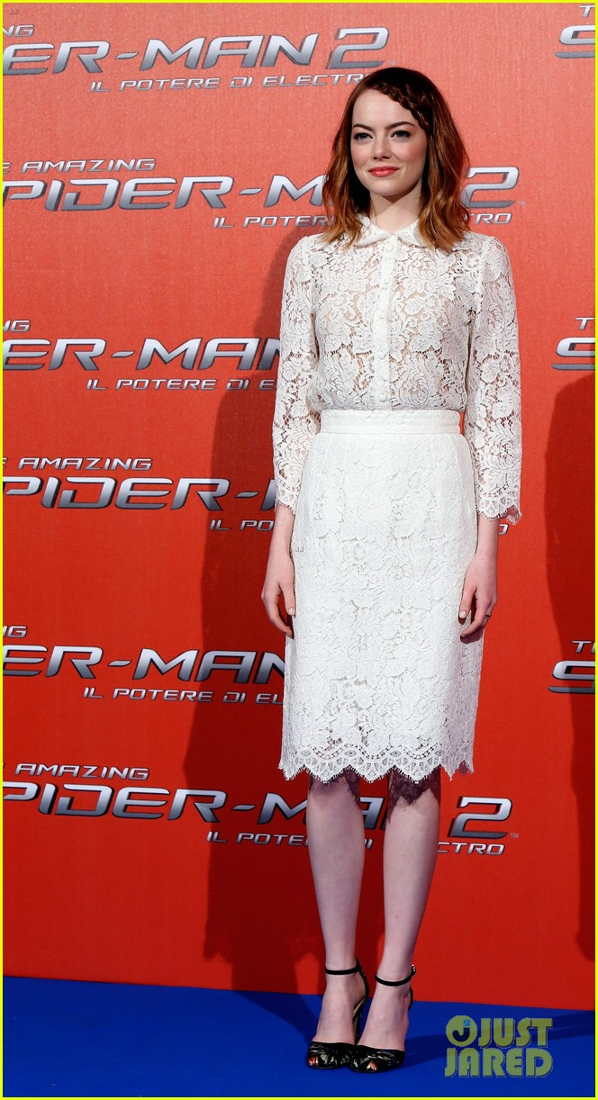 emma stone braids her hair spider man 2 rome photo call 19