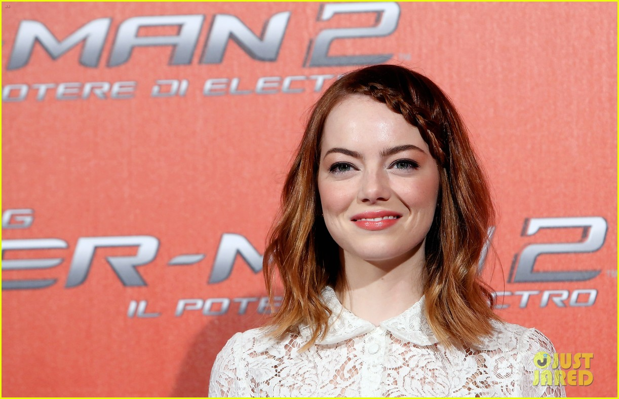 emma stone braids her hair spider man 2 rome photo call 20