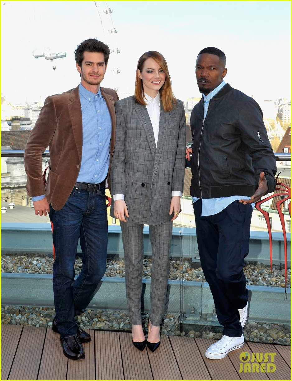 andrew garfield jamie foxx sandwhich emma stone at amazing spider man 2 london photo call 01