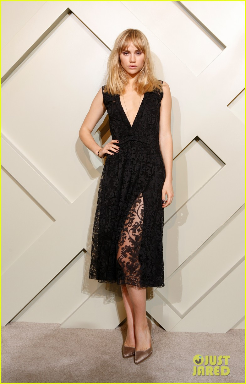 suki waterhouse shows off some serious leg at burberry shanghai opening 223098300