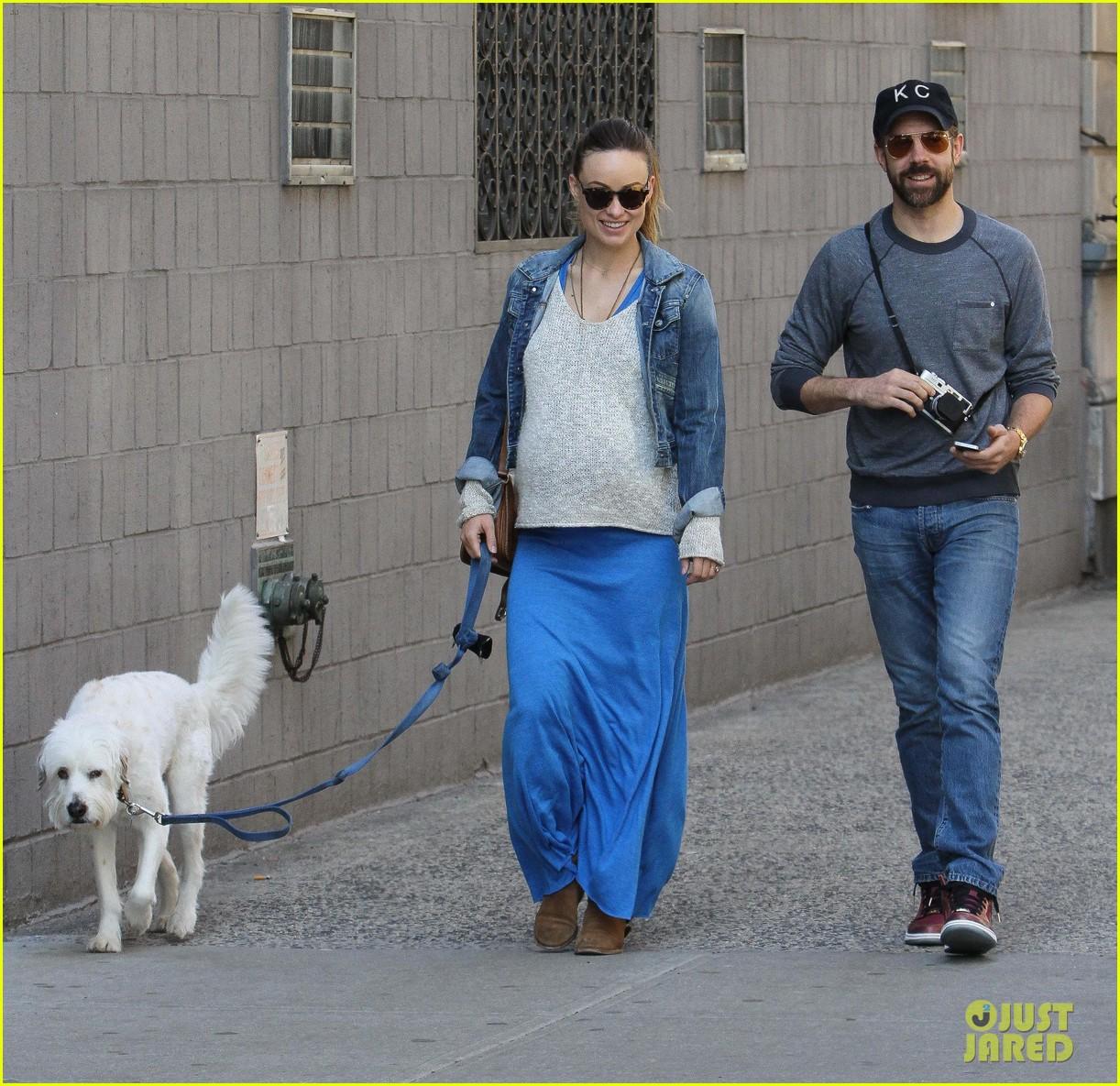olivia wilde growing baby bump dog walk 10