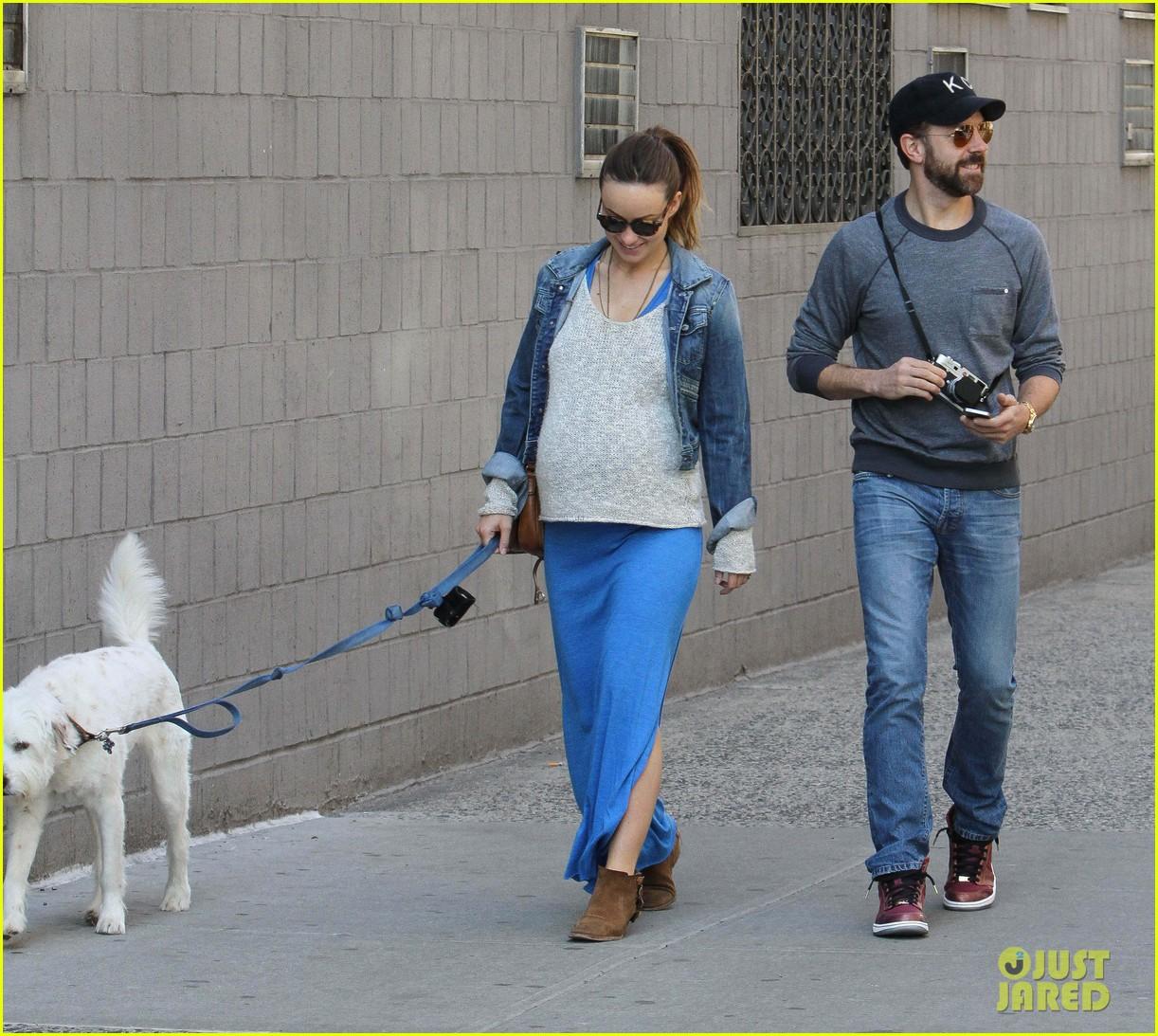 olivia wilde growing baby bump dog walk 18