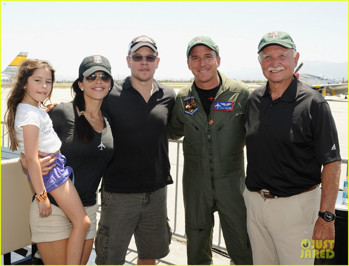 matt damon wife luciana mingle horsemen flight team 12