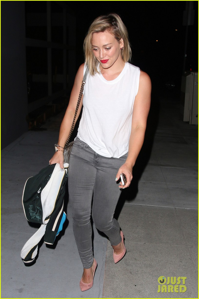 hilary duff hits the town with stylist marcus francis 163124590