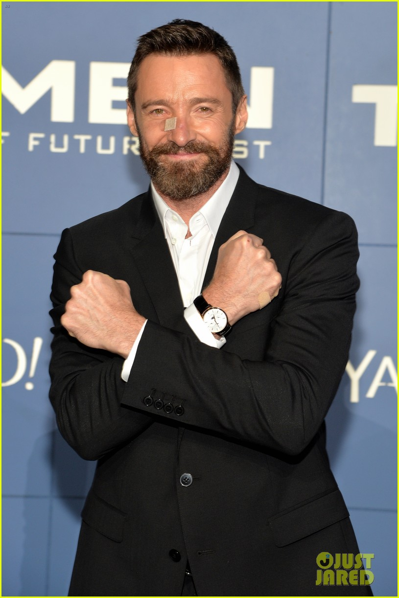 hugh jackman wears bandage on nose to x men premiere 02