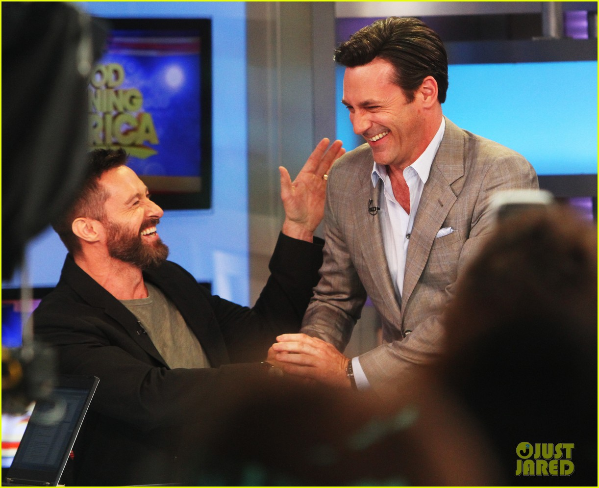 hugh jackman jon hamm bromance moment buddy around at gma 033108645
