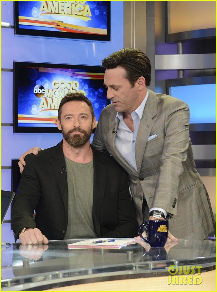 hugh jackman jon hamm bromance moment buddy around at gma 083108650
