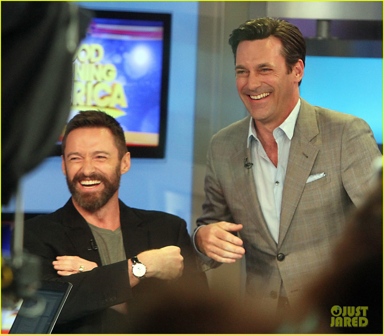 hugh jackman jon hamm bromance moment buddy around at gma 15