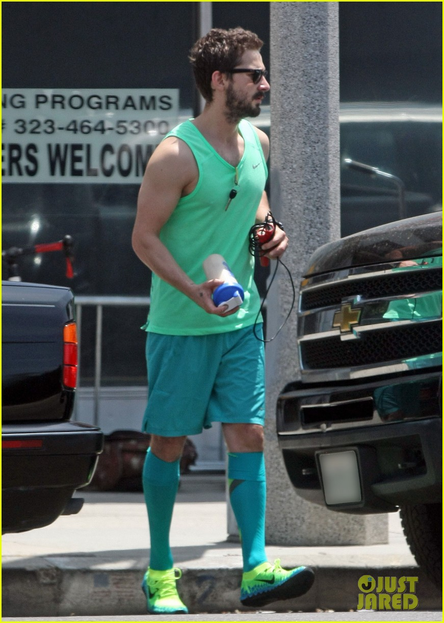 shia labeouf wears totally green outfit two days in a row 03