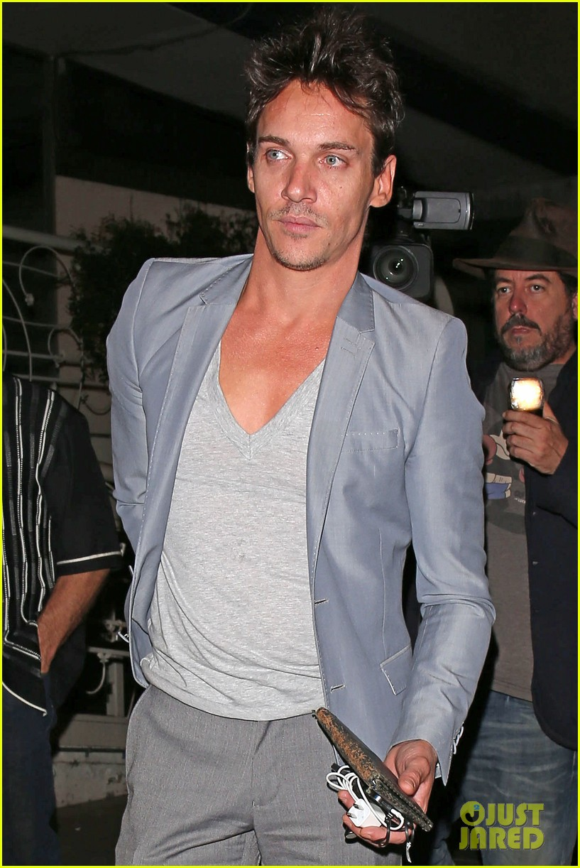 jonathan rhys meyers wears a deep v neck t shirt displays some chest 10