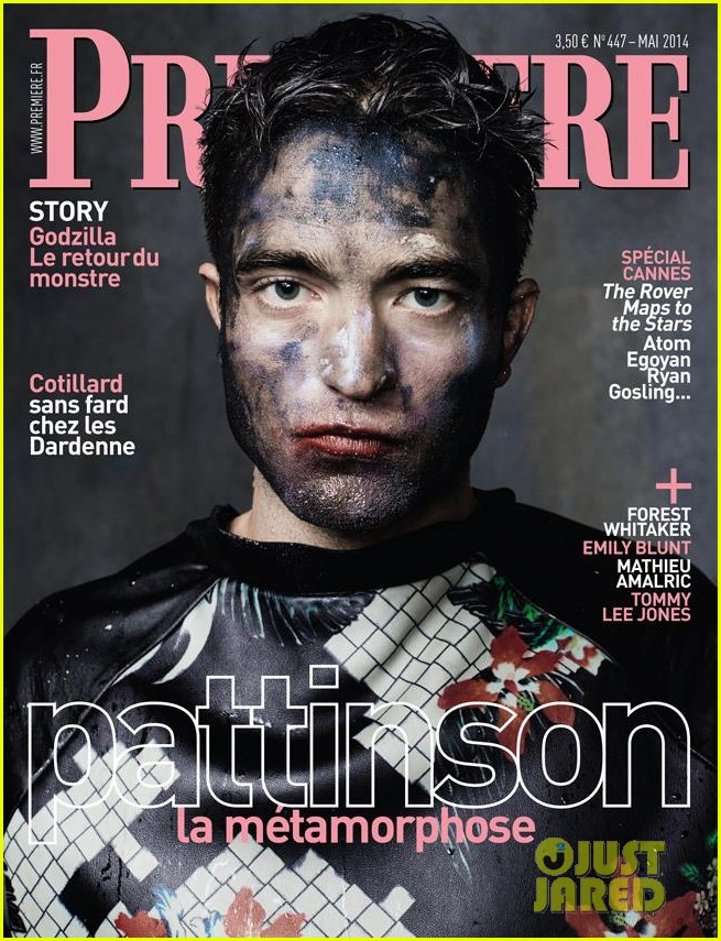 robert pattinson all covered in paint for premiere magazine 013103717