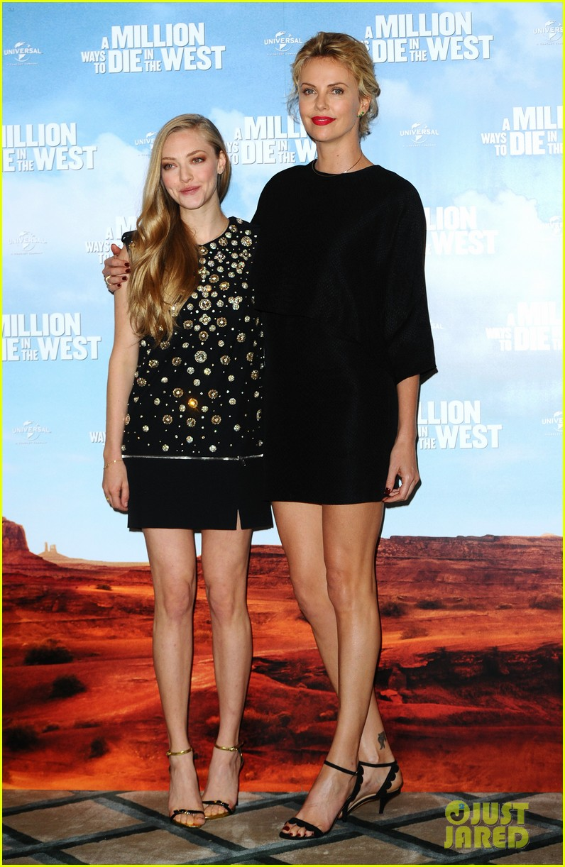 charlize theron amanda seyfried display long legs a million ways photo call 06