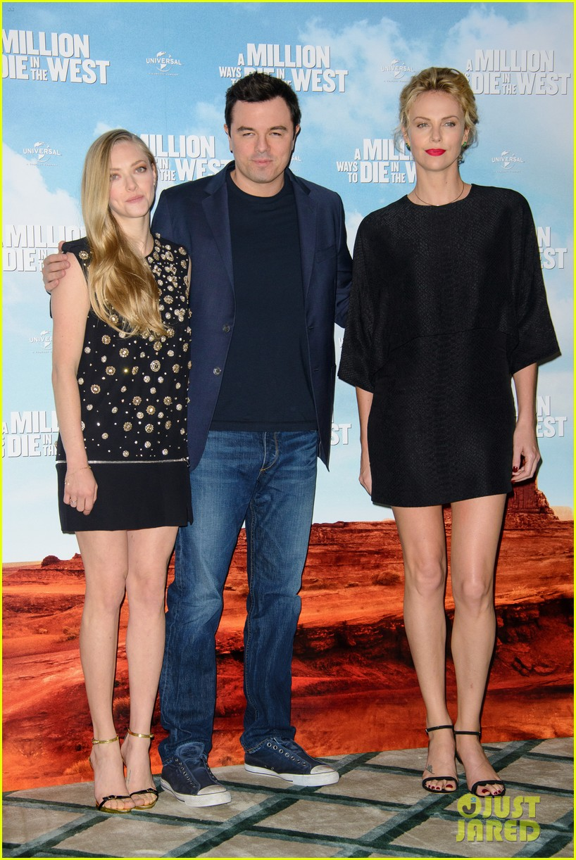 charlize theron amanda seyfried display long legs a million ways photo call 143122663
