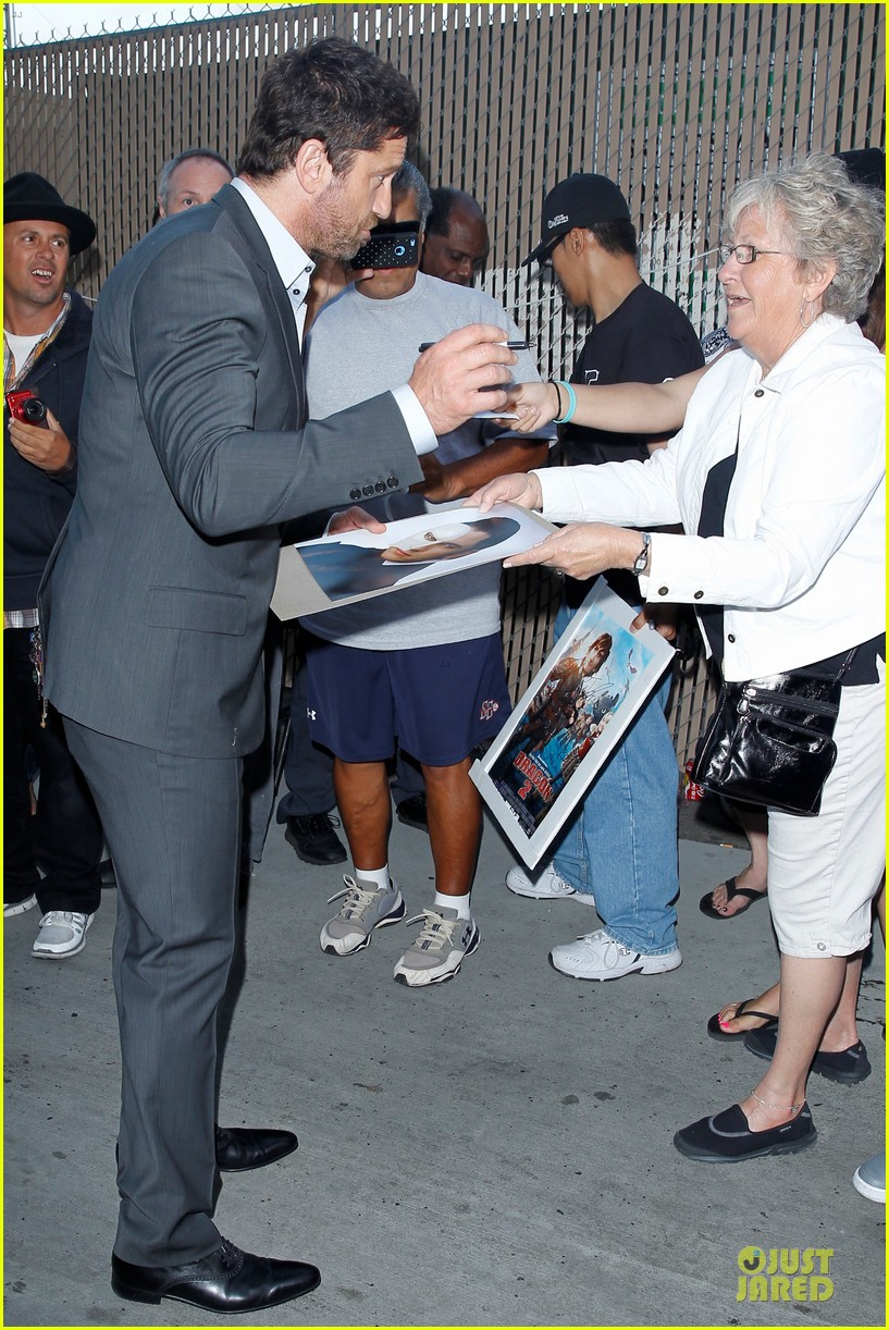 gerard butler meagan good picture at jimmy kimmel live 10