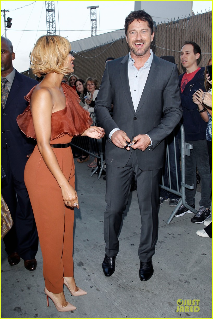 gerard butler meagan good picture at jimmy kimmel live 183132838
