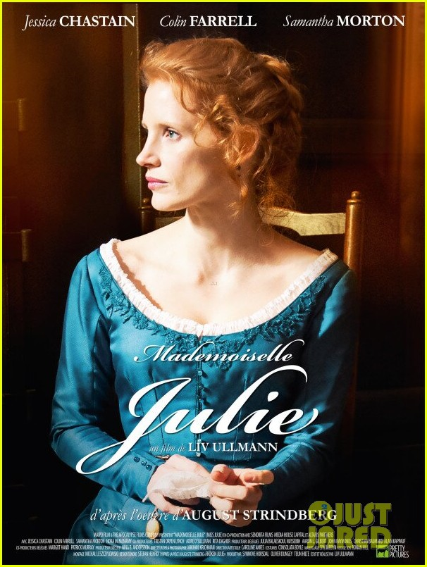 jessica chastain colin farrel share passionate kiss for miss julie 053129866