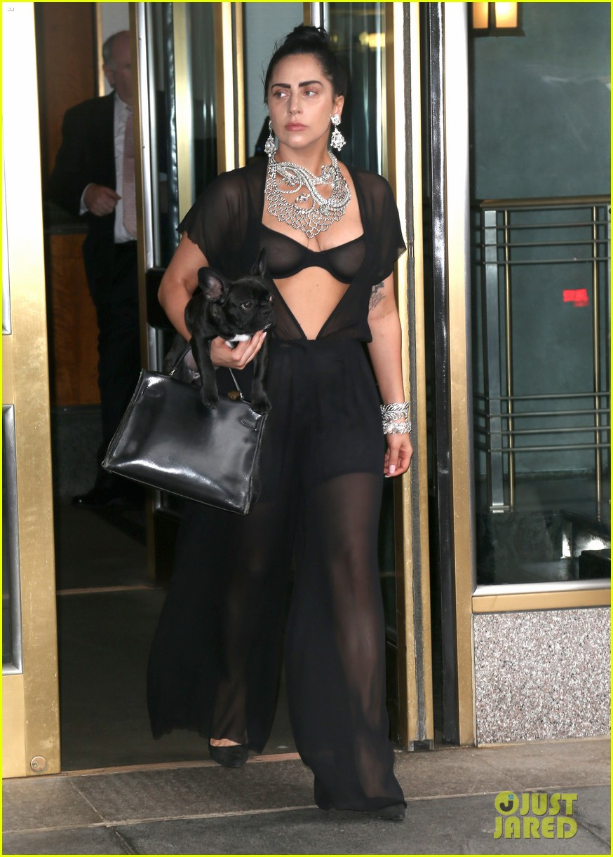 lady gaga goes wigless bares nipples sheer bra 01