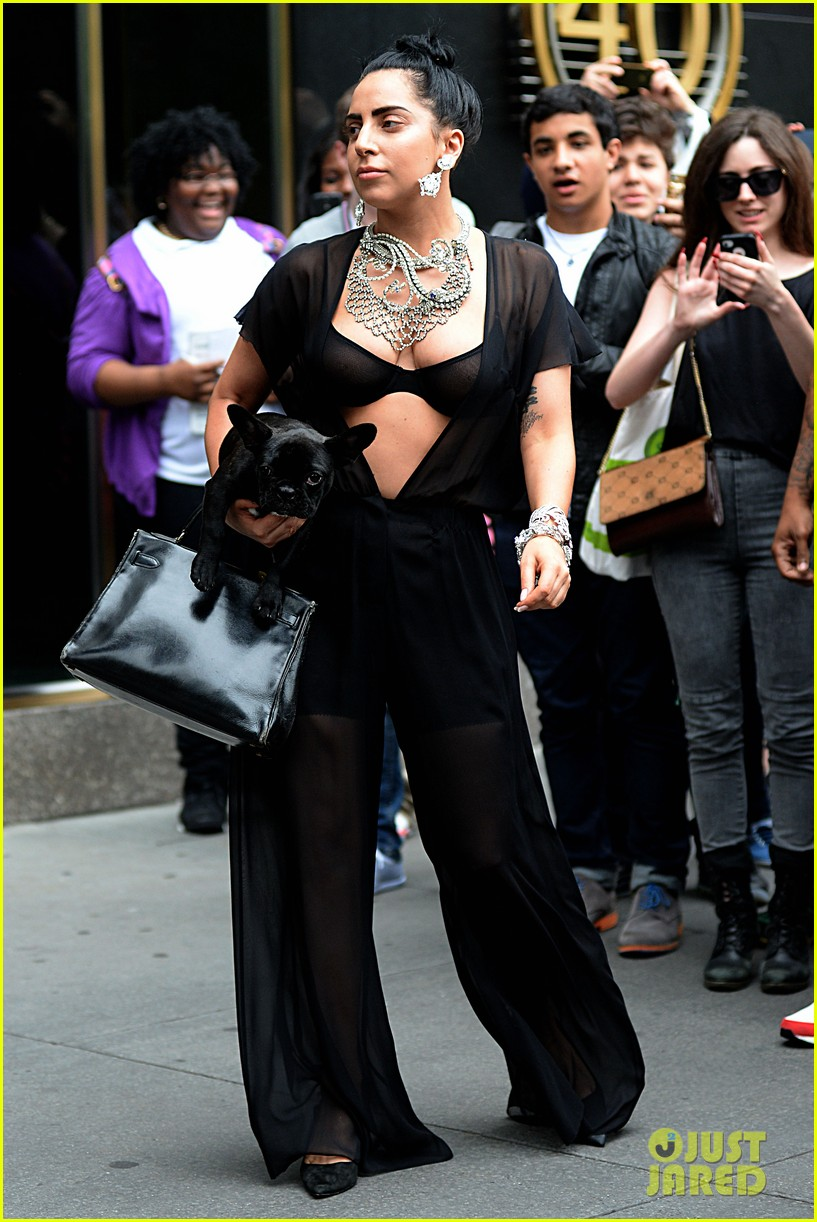 lady gaga goes wigless bares nipples sheer bra 183134261