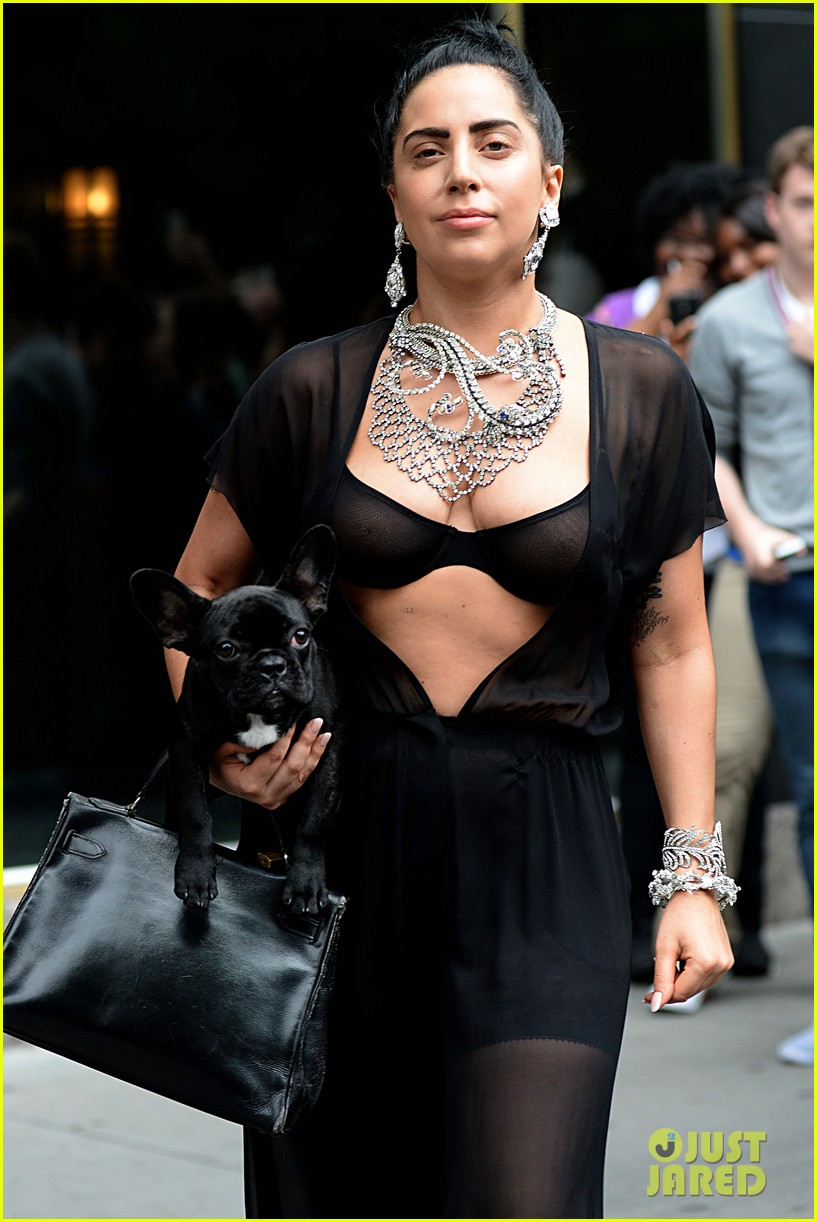 lady gaga goes wigless bares nipples sheer bra 193134262