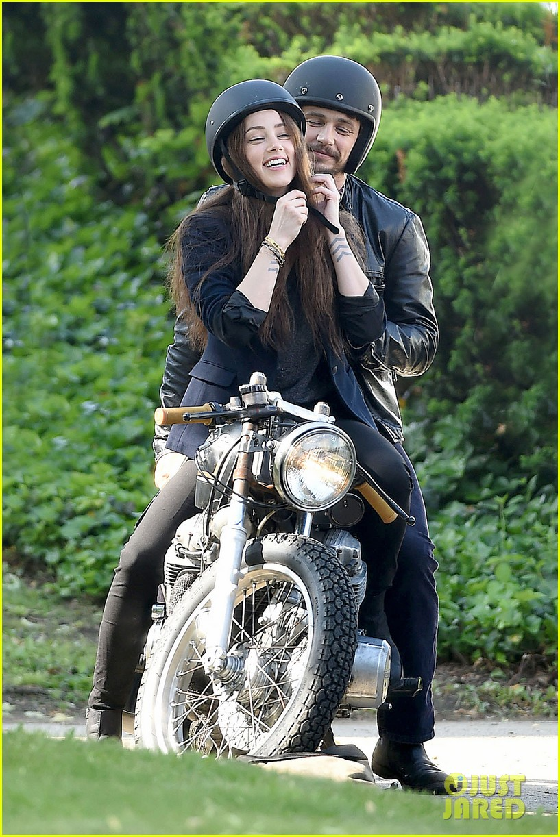 james franco wraps his arms around amber heard for motorcycle ride 013128091