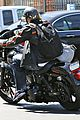charlie hunnam arrives to sons of anarchy set on motorcycle 05