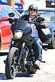 charlie hunnam arrives to sons of anarchy set on motorcycle 10