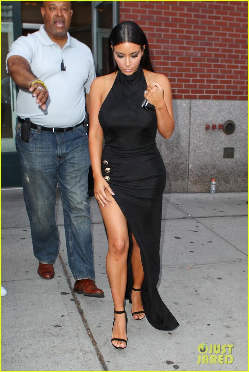 kim kardashian shows off legs for days sexy slit dress 01