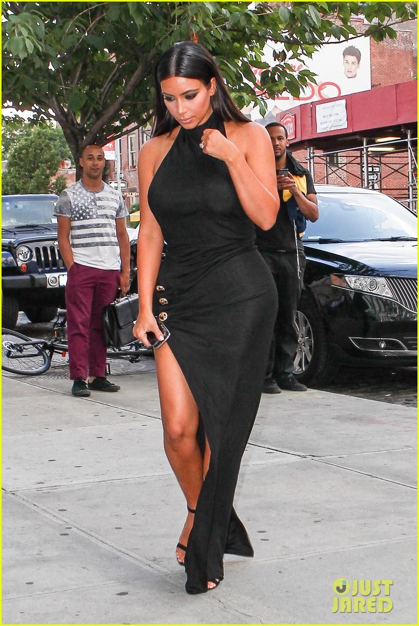 kim kardashian shows off legs for days sexy slit dress 14