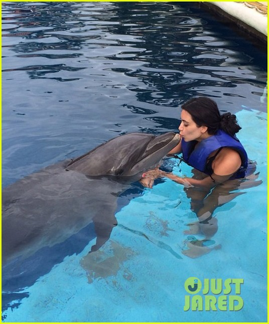 kim kardashian swims with dolphins 013142615