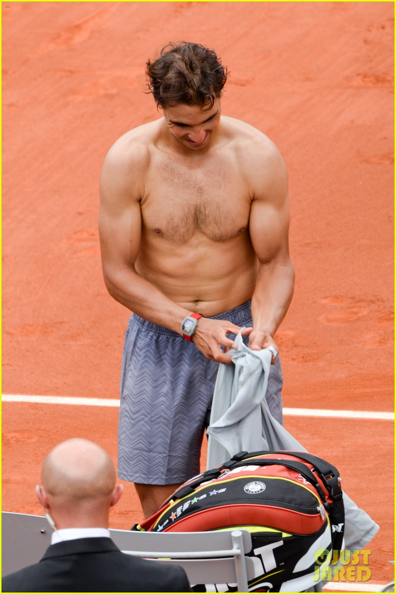 rafael nadal goes shirtless at french open strolls wih xisca perello 01