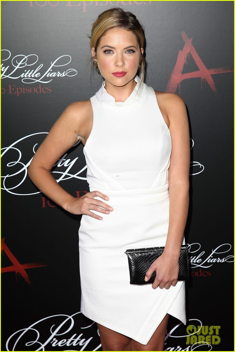 lucy hale ashley benson pretty little liars 100th episode party 273125767