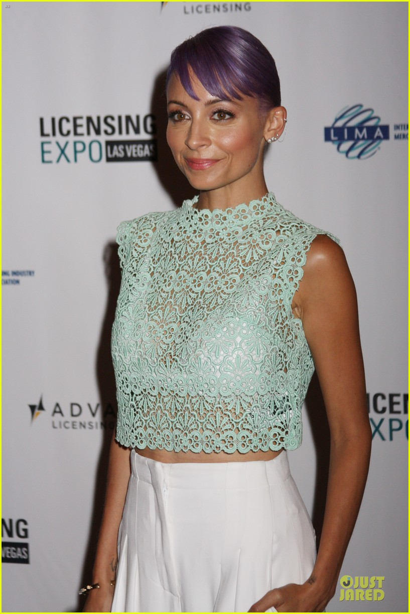 nicole richie rocks purple hair white bra at licensing expo 04