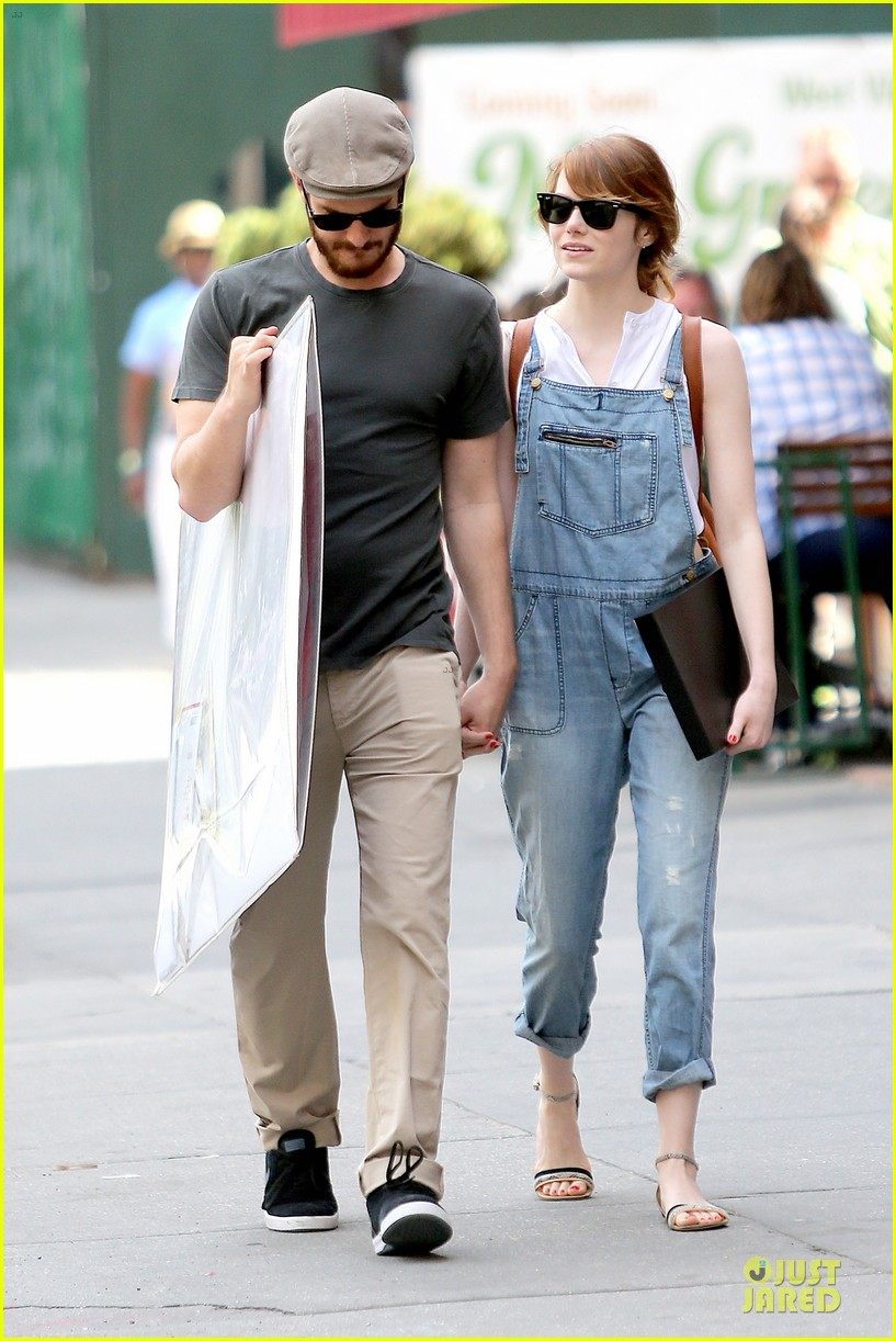 emma stone looks trendy in overalls andrew garfield 193140797