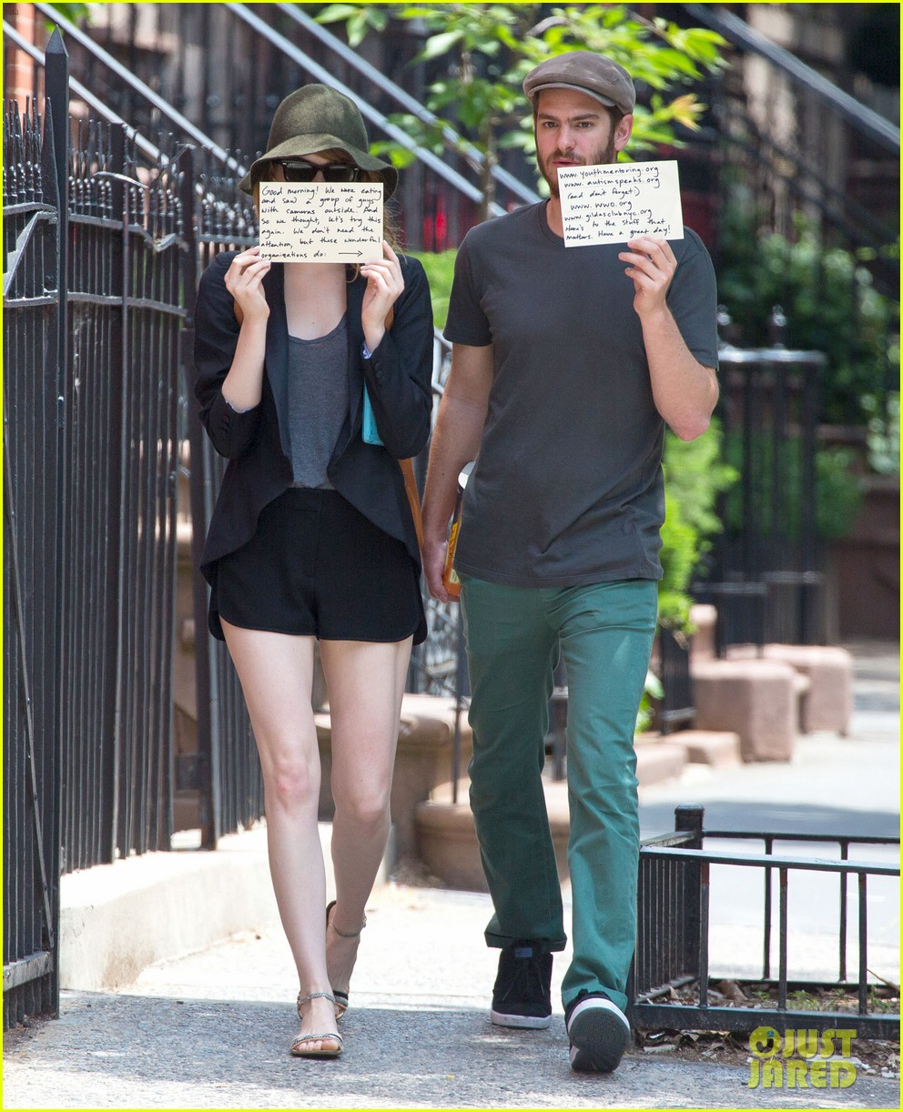 emma stone andrew garfield use signs to raise awareness 153137338